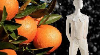 orange fiber dress