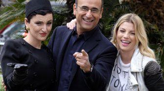 Sanremo 2015 da sinistra Arisa, Carlo, Conti ed Emma, i conduttori di Sanremo