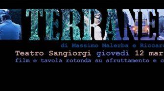 La locandina dell'evento di presentazione di Terranera al Teatro Sangiorgi di Catania
