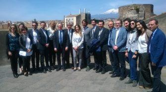 Il ministro Maria Elena Boschi in visita a Catania insieme ad alcuni membri della giunta comunale