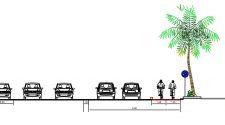 La sezione della pista ciclabile che verrà realizzata al Lungomare di Catania