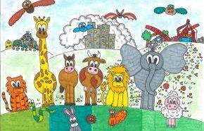 Uno dei disegni del concorso indetto dalla Lav a favore degli animali