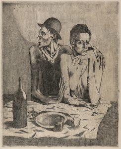 Opera di Pablo Picasso dal titolo Le Repas Frugal, acquaforte, 1904
