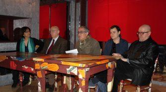 """Un momento della conferenza stampa al Teatro Musco di Catania per la presentazione dello spettacolo """"Una solitudine troppo rumorosa""""."""