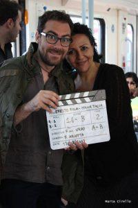 Vitalba Andrea e Mario Incudine  sul set del video di Incudine