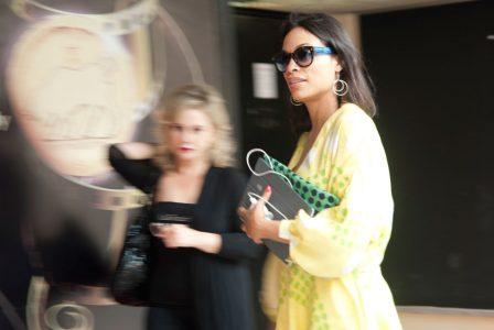 Rosario Dawson al suo arrivo al palazzo dei congressi a Taormina