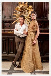 Nella foto lo stilista Michele Miglionico e una modella