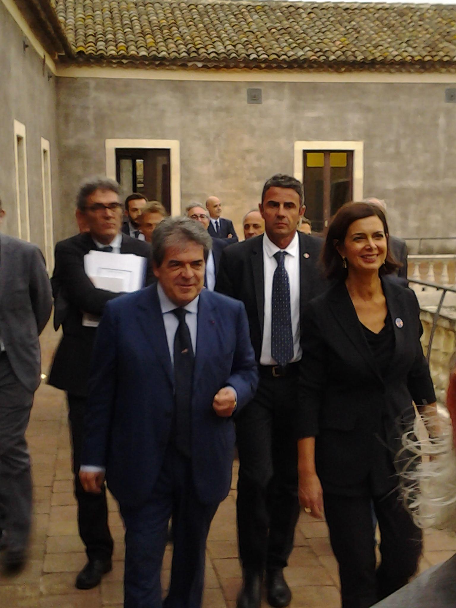 Il sindaco di Catania, Enzo Bianco, e la presidente della Camera, Laura Boldrini, a Palazzo della Cultura di Catania
