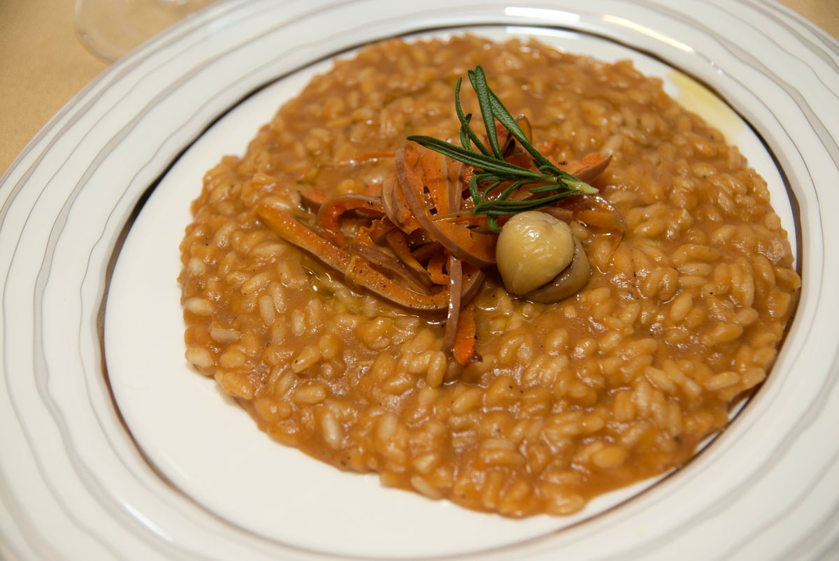 Risotto alla zucca con zenzero e castagne. Chef. Francesco Zappalà. Foto Brunella Bonaccorsi