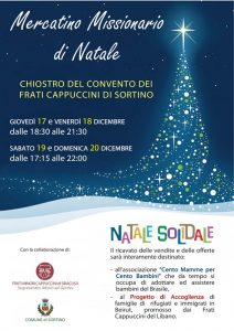 La locandina dei mercatini di Natale organizzati dai Frati Cappuccini