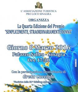 Locandina Premio Donne Sinagra 2016