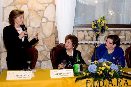 Pia Petrucci, Caterina Sciuto e Anna Maria La Scola presidente Fidapa distretto Sicilia. Foto Brunella Bonaccorsi