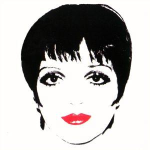 Liza Minelli white ground, 1978, colori acrilici stesi con telai di seta su tela. Collezione Rosini-Gutman