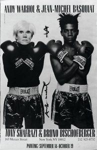 Andy Warhol's Interview Magazine, 1985. Pagina interna firmata da Andy Warhol e Jean Michel Basquiat 42x27cm. Collezione Rosini Gutman